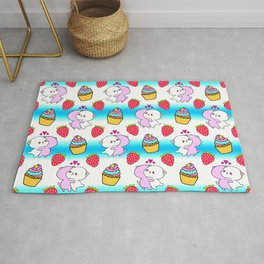 Cute happy cuddling funny Kawaii baby kittens, sweet red summer strawberries and colorful rainbow yummy cupcakes bright blue and white striped design. Nursery decor. Rug