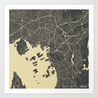 oslo Art Prints featuring Oslo Map by Map Map Maps