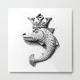 Fish Grotesque with Crown | Black and White | Metal Print