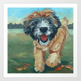Wheaton Terrier Dog Portrait Art Print