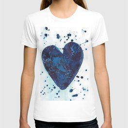 Splattered blue heart T-shirt
