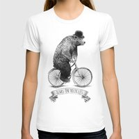 bicycles T-shirts featuring Bears on Bicycles (Lime) by Eric Fan