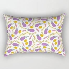 Modern purple yellow fruity floral leaves pattern Rectangular Pillow