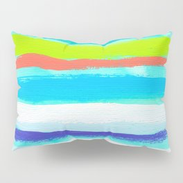Ocean Blue Summer blue abstract painting stripes pattern beach tropical holiday california hawaii Pillow Sham
