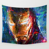 ironman Wall Tapestries featuring BRUSH STROKE IRONMAN by DITO SUGITO