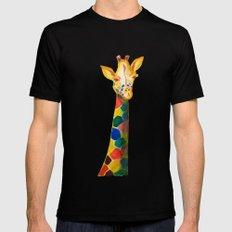 Giraffe Watercolor Print Black MEDIUM Mens Fitted Tee