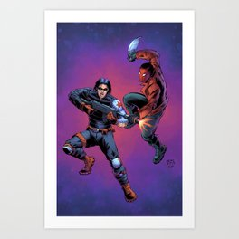Winter Soldier VS. Red Hood Colored Version Art Print