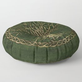 Tree of life -Yggdrasil -green and gold Floor Pillow