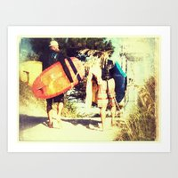 Surf Walk Art Print