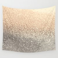 gold glitter Wall Tapestries featuring  GOLD by Monika Strigel