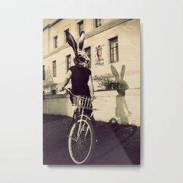 Bunny on Bicycle Metal Print
