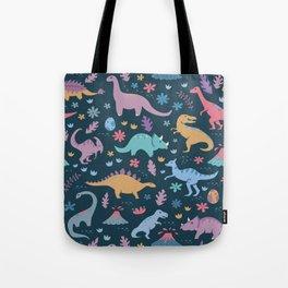 Dinosaur + Flowers Pattern Tote Bag