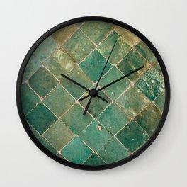 Green Moroccan Pattern Tile Wall Clock