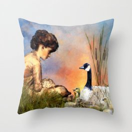 Six Geese a Laying Throw Pillow