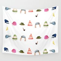 hat Wall Tapestries featuring Hat Nation by Kathryn Burton
