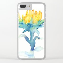 Flower Burst, Watercolor in Blues, Greens, and Yellows Clear iPhone Case