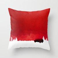 van Throw Pillows featuring Waiting in a van by Robert Farkas