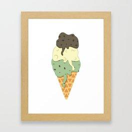 Mint-Vanilla-Chocolate Ice Cream Sundae Framed Art Print