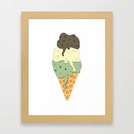 Mint-Vanilla-Chocolate Ice Cream Sundae Framed Art Print