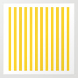 Large Taxi Yellow and White Cabana Stripe Art Print