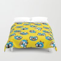 wrestling Duvet Covers featuring Wrestling Academy pattern 03 by TokyoCandies