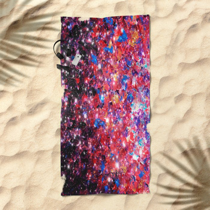 WRAPPED IN STARLIGHT Bold Colorful Abstract Acrylic Painting Galaxy Stars Pink Red Purple Ombre Sky Beach Towel