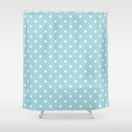 White Polkadot Spots on Wedding Garter Bue Shower Curtain