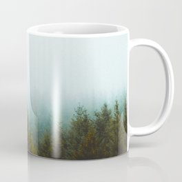Misty Pine Forest Green Blue Hues Minimalist Photography Coffee Mug