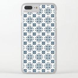 Dusky Blue Flower Flourish Pattern Clear iPhone Case