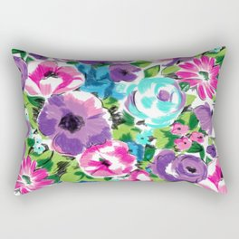 Stylized Watercolor Floral in Bright Colors Rectangular Pillow