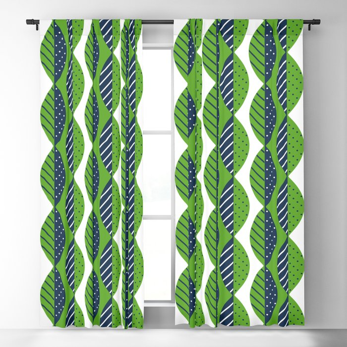 Mod Leaves In Navy Blue Lime Green And White Blackout Curtain By Fischerfinearts