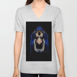 Blue Caped Skull Unisex V-Neck