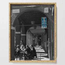 Bologna Tabacchi Blue Street Photography Black and White Serving Tray