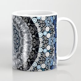Dark Blue Grey Mandala Design Coffee Mug