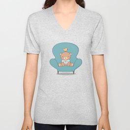 Kawaii Cute Teddy Brown Bear On A Sofa Unisex V-Neck