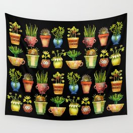 Succulents All in a Row Wall Tapestry