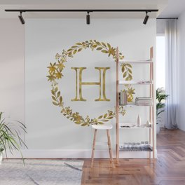 Monogram Letter H with Golden Wreath Wall Mural