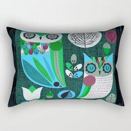 Night Owls Retro Pattern Rectangular Pillow