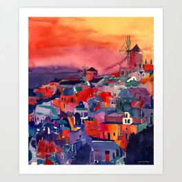 Sunset on Santorini Art Print