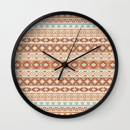 Aztec Stylized Pattern Blue Cream Terracottas Wall Clock