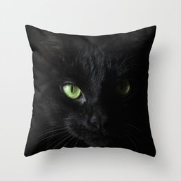 Black cat | Witchy cat | Green eyes | Cat love | Happy halloween Throw Pillow