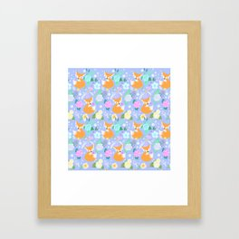 Cute fox flower pattern Framed Art Print