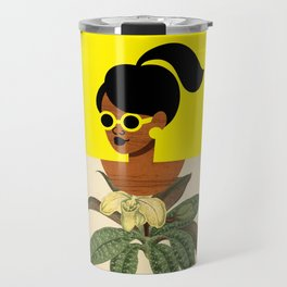 Ponytail Girl with Nature Shirt Travel Mug