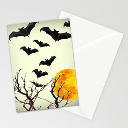 GOTHIC HALLOWEEN FULL MOON BLACK FLYING BATS DESIGN Stationery Cards