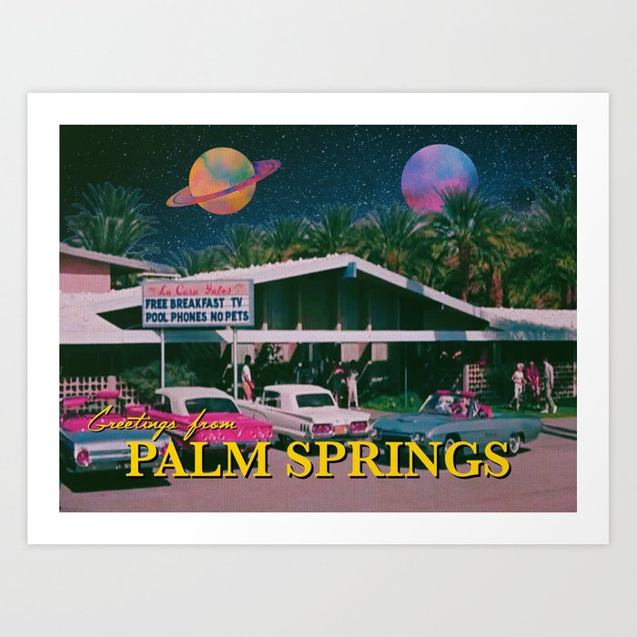 greetings from palm springs Art Print