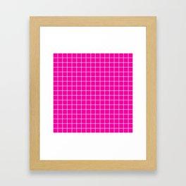 Hollywood cerise - fuchsia color - White Lines Grid Pattern Framed Art Print