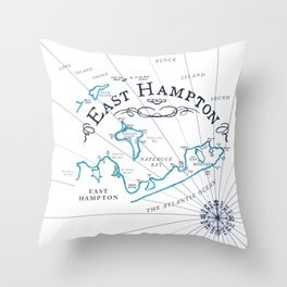 East Hampton Vintage Map Throw Pillow
