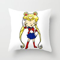 sailor moon Throw Pillows featuring Sailor Scout Sailor Moon by Space Bat designs