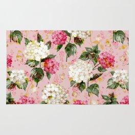 Vintage green pink white bohemian hortensia flowers Rug