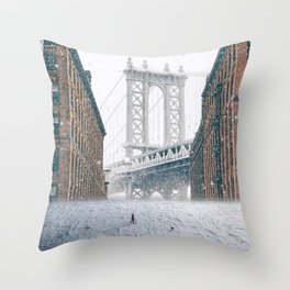 Snowed In-Snowy New York City Throw Pillow
